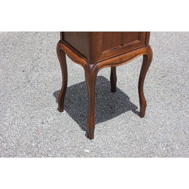 Red 1900s French Louis XV Solid Walnut Nightstand For Sale - Image 8 of 13