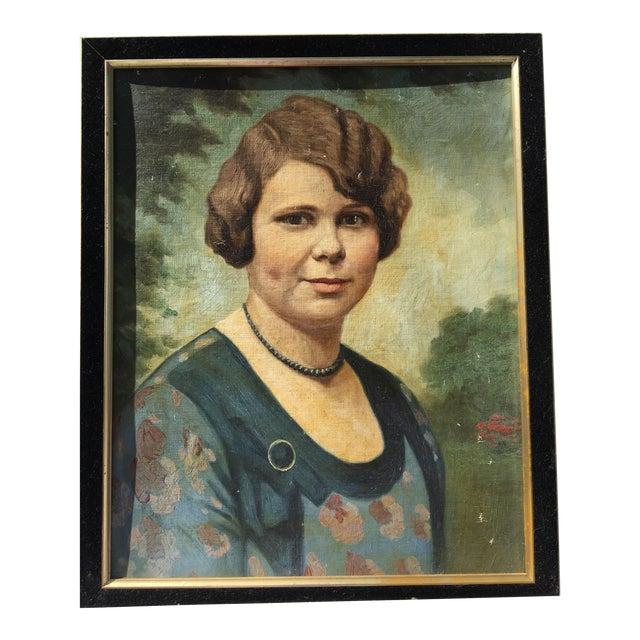 Vintage Mid-Century Oil Portrait - Image 1 of 4