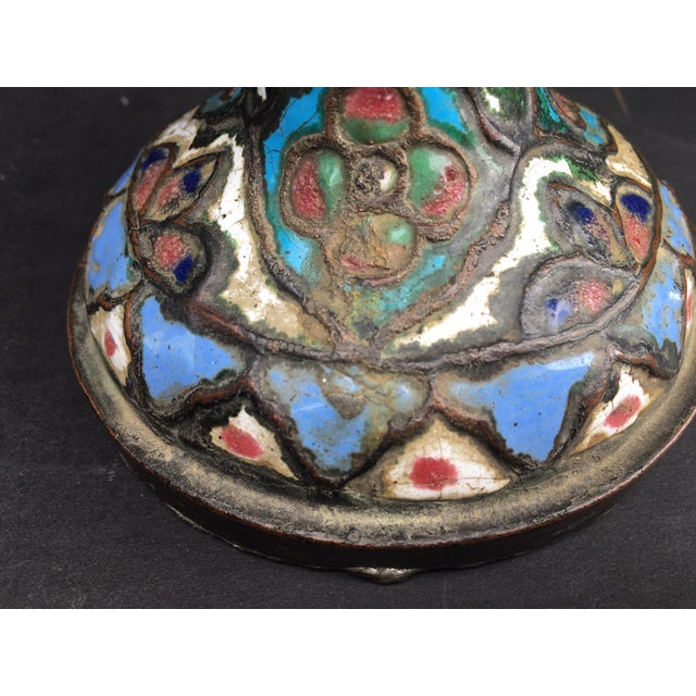 15th Century & Earlier Ancient Islamic Syrian Enameled Copper Vessels - a Pair For Sale - Image 5 of 11