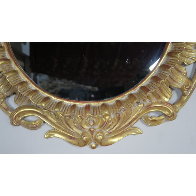 French Gilt Wood Rococo Style Round Shaped Mirror For Sale - Image 4 of 11