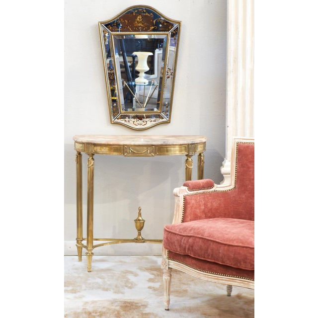 Neoclassic Marble-Top Brass Demilune Console Table - Image 5 of 11