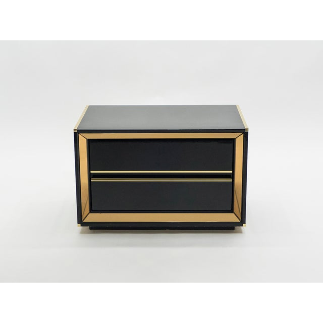 Italian Sandro Petti Black Lacquered Brass Mirrored Nightstands Tables, 1970s For Sale - Image 12 of 13