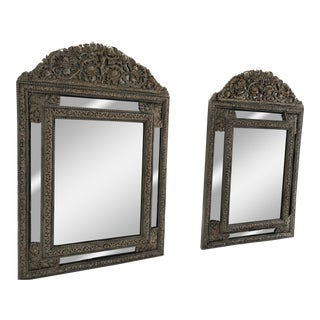 19th Century Antique Brass Repousse Silvered Cushion Mirrors - a Pair For Sale