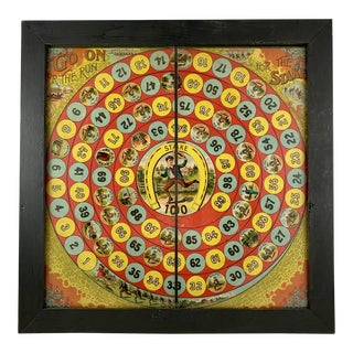 1885 Chromolithograph 'Run for the Stakes' Horse Race Children's Game Board, Framed For Sale