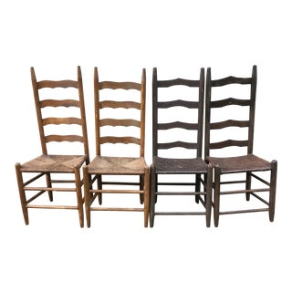 Mismatched Ladder Back Country Chairs - Set of 4 For Sale