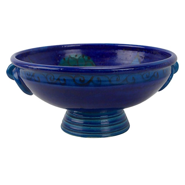 Bitossi Flowered Rimini Blue Footed Bowl For Sale