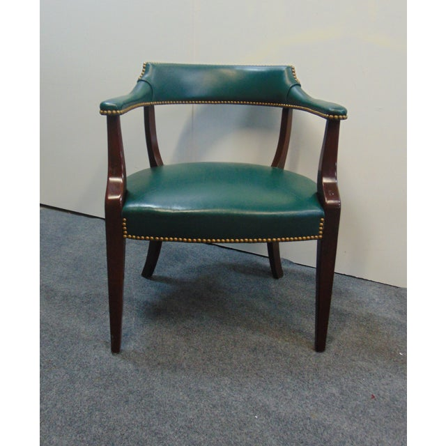 Metal Modern Mahogany & Leather Office Desk Chair For Sale - Image 7 of 7