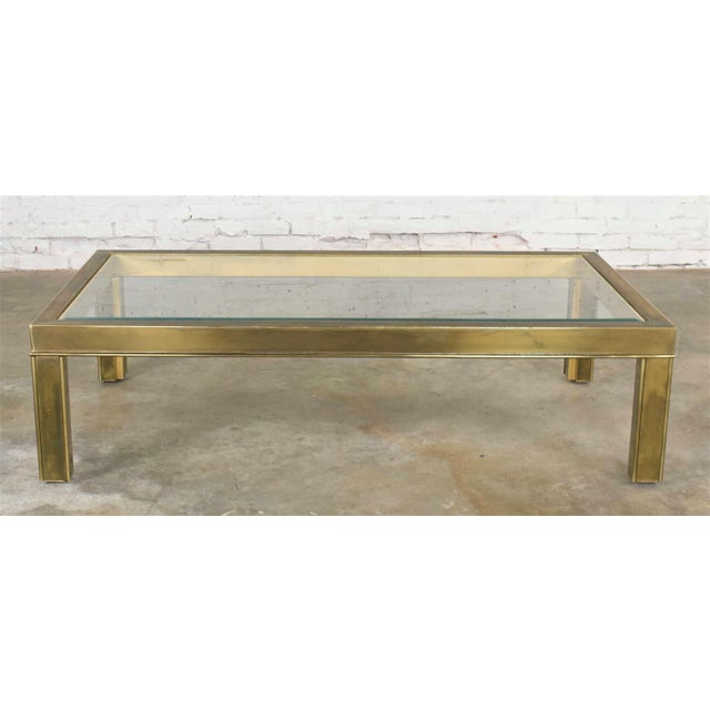 Large Modern Brass & Glass Parsons Style Coffee or Cocktail Table Style Mastercraft For Sale - Image 13 of 13