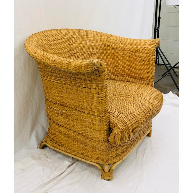Thomasville Vintage Palm Beach Chic Woven Wicker Arm Chair For Sale - Image 4 of 13