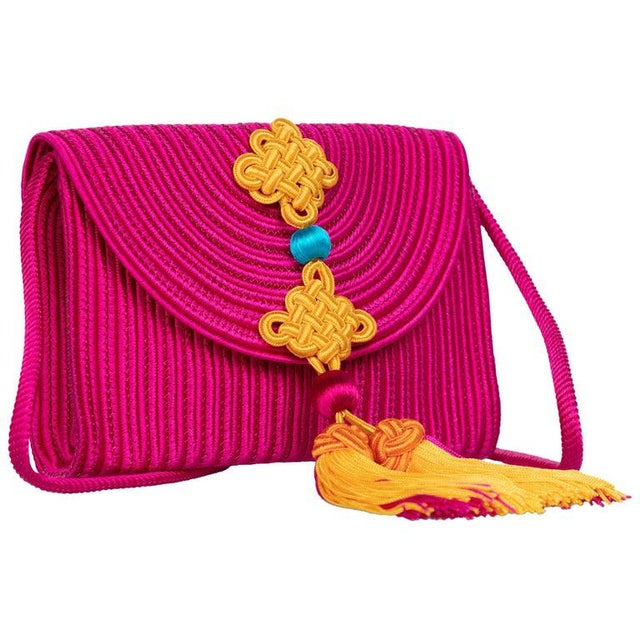 Pink 1990s Yves Saint Laurent Ysl Pink Passementerie Yellow Tassel Shoulder Bag For Sale - Image 8 of 8