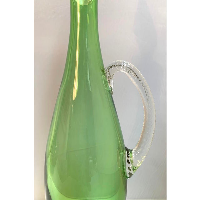 Art Nouveau Vintage Murano Glass Decanter With Twisted Spire Stopper For Sale - Image 3 of 6