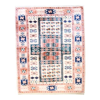 5x7 Vintage Central Anatolian 'Yoruk' Turkish Area Rug | Geometric Field With Scattered Symbols, Salmon Border | 5'3'' X 6'7'' | For Sale
