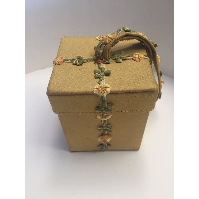 Lulu Guinness Gold Silk Box Bag With Ribbon Flower Trim For Sale - Image 4 of 11