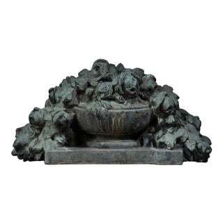 Large Mid 19th Century French Verdigris Bronze Floral Sculpture