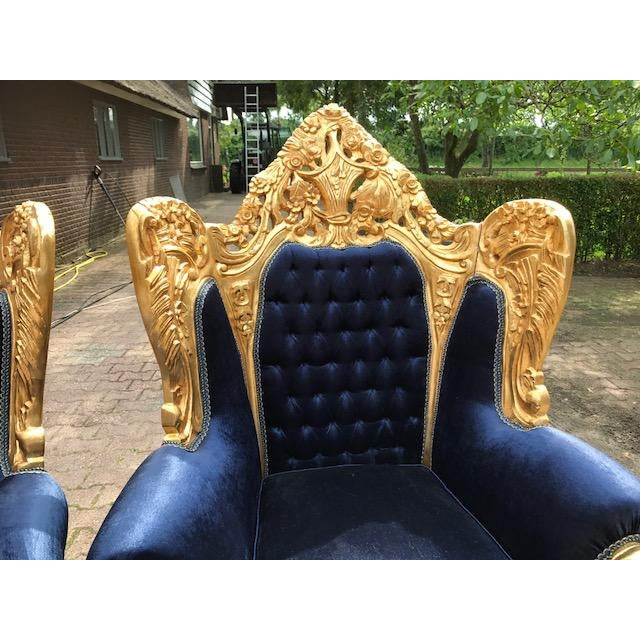 Aesthetic Movement Baroque / Rococo Style Dark Blue Velvet Chairs - a Pair For Sale - Image 3 of 7