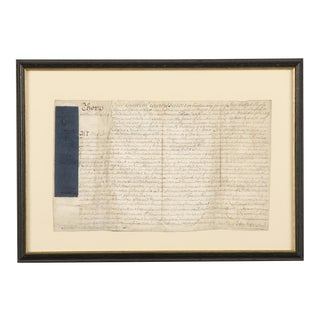 Early 19th Century Ancient Indenture Document From England Enclosed in Original Frame For Sale