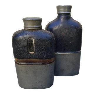 19th Century Edwardian Liquor Flasks - a Pair For Sale