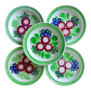 Antique Adams Hand-Painted Plates-Set 5-England For Sale