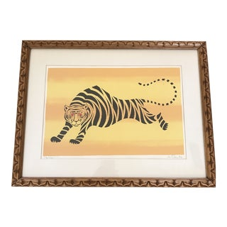 Midcentury Tiger Block Print Framed Lithograph For Sale