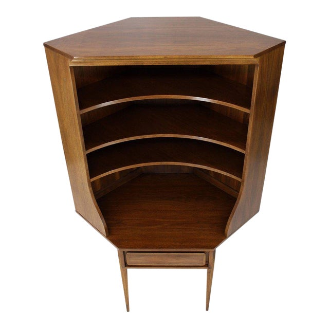 Mid-Century Modern Two-Piece Walnut Corner Desk Table Bookcase Hutch For Sale
