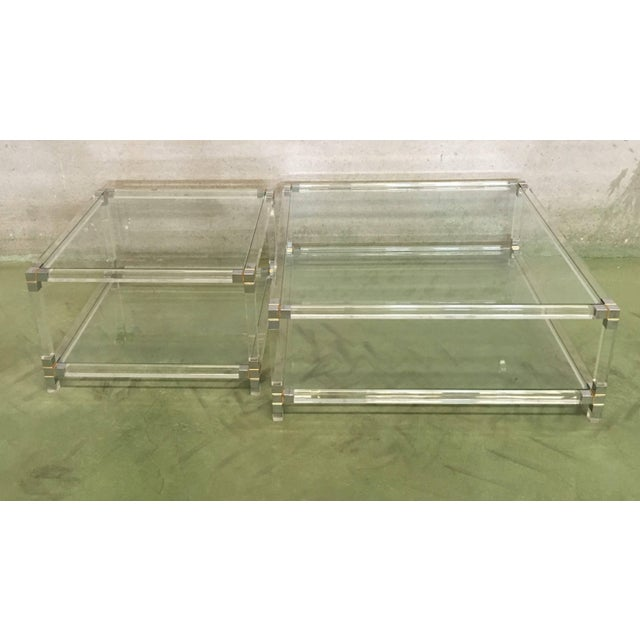 Midcentury Square Lucite Coffee Table With Chromed Metal Details For Sale - Image 4 of 13