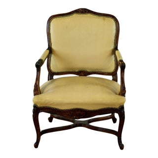 Yellow French Provincial Style Wooden Armchair For Sale