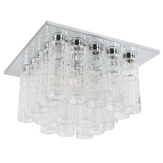 Lightolier chrome and glass flush-mount ceiling fixture, circa 1970s For Sale