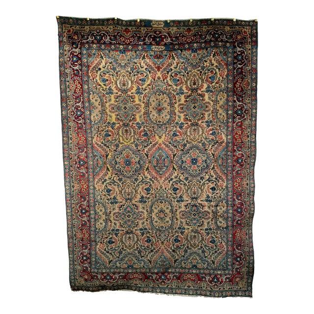 Antique Yazd Persian Carpet - 6′6″ × 9′7″ For Sale