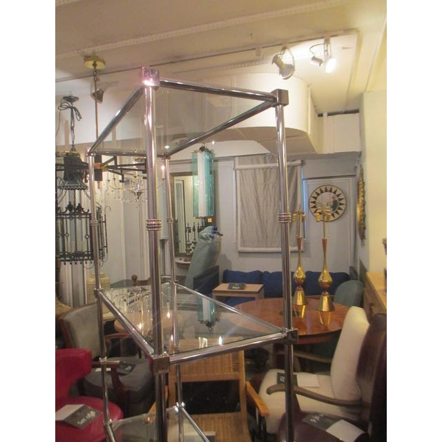 Pair of Chrome Etageres/Bookcases With Glass Shelves For Sale - Image 4 of 9