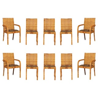 Superb Set of Ten Rattan Wrapped Dining Chairs in the Style of Billy Baldwin For Sale
