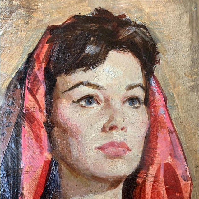 Portraiture Vintage Mid-Century American Portrait of Woman Oil Painting For Sale - Image 3 of 4