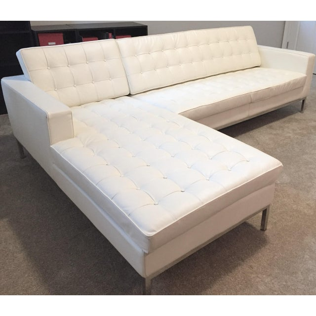 Kardiel Warm White Leather Knoll-Style Sectional - Image 3 of 6