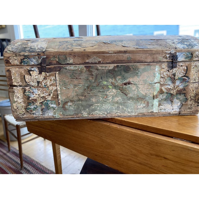 This is a hard one to let go of! When have you ever seen one of these before. This domed top trunk was used by a wallpaper...