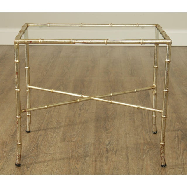 1960s Hollywood Regency 1960's Silver Gilt Metal Faux Bamboo Glass Top Side Table For Sale - Image 5 of 11