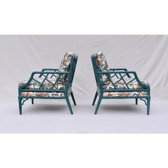 Asian Faux Bamboo Chinese Chippendale Lounge Chairs For Sale - Image 3 of 13