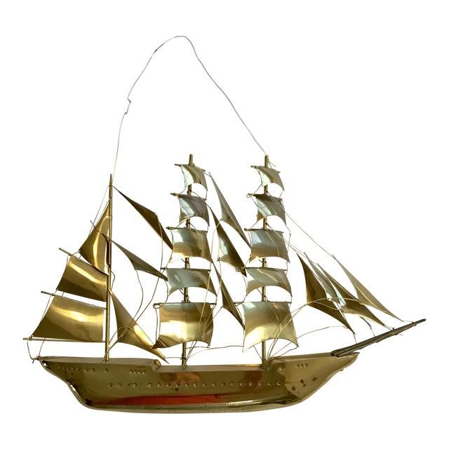 Vintage Brass Ship Wall Sculpture For Sale