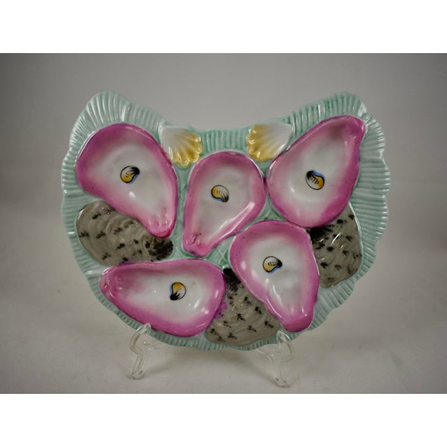 Porcelain Crescent Shape Pink Wells & Pale Turquoise Hand-Painted Oyster Plate For Sale - Image 9 of 9