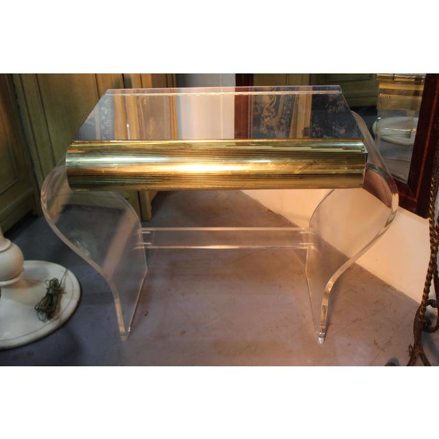 1950s Mid Century Modern Gold and Lucite Vanity For Sale - Image 5 of 10