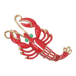 1960's Vintage Trifari Red & Gold Lobster Brooch With Green Eyes
