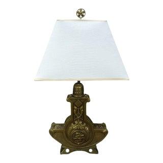 Antique Austrian Art Nouveau Bronze Lamp With Shade For Sale