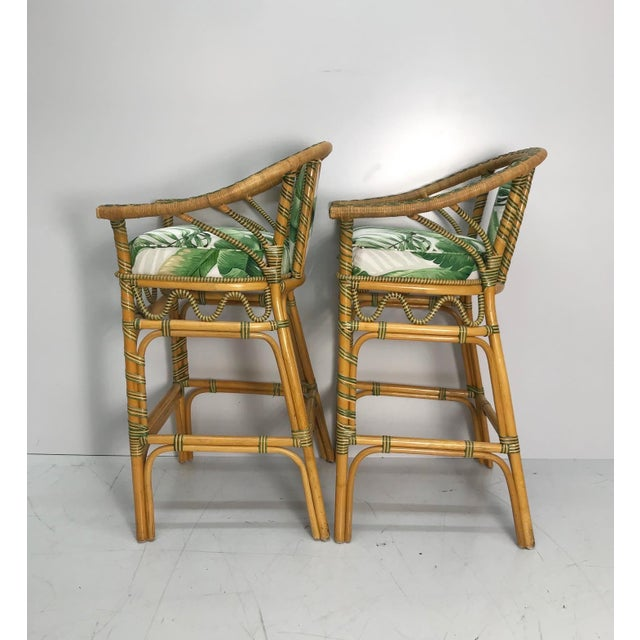 Coastal 1970s Vintage Tropical Rattan Bar Stools - a Pair For Sale - Image 3 of 7
