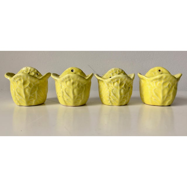 This charming set of four yellow Majolica vintage salt &pepper shakers are in the shape of cabbage heads. Simply darling...