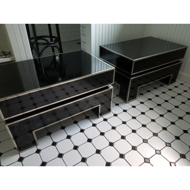 Chrome Trimmed Lacquered Side Tables - A Pair - Image 3 of 7