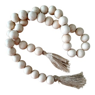 Natural Wood Bead Garland W/ Jute Tassels For Sale