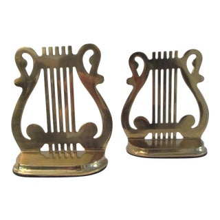 1970s Polished Brass Harp Bookends, a Pair For Sale