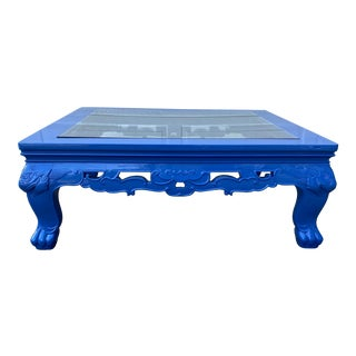 Oversized Square Blue Lacquered Coffee Table For Sale