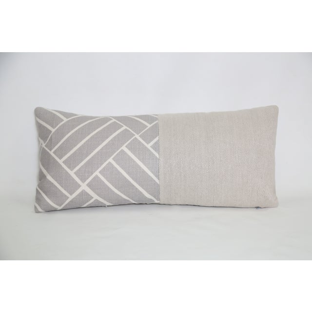 Contemporary Gray Diagonal Linen Lumbar Pillow For Sale - Image 3 of 3