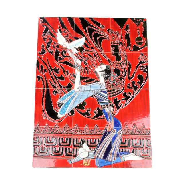 Asian Geisha Tile Wall Art Plaque For Sale - Image 3 of 9