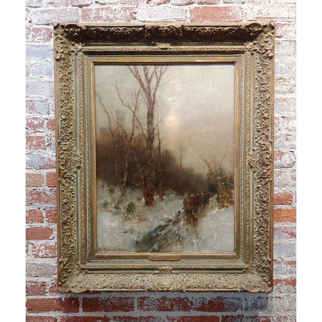 Desiree Thomassin -Hunters in a Winter Wooded Landscape -19th Century Oil Painting For Sale - Image 11 of 11