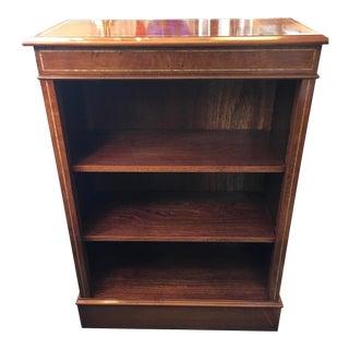 English Custom Made Burled Walnut Single Low Bookcase For Sale